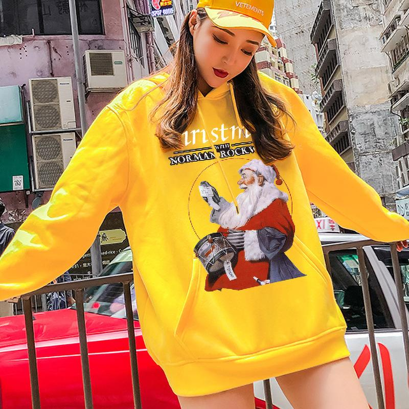 Hooded Sweater Santa Claus 3D Digital Print Pullover Casual Loose Couple Sweater Funny Santa Hooded Sweater versize clothing