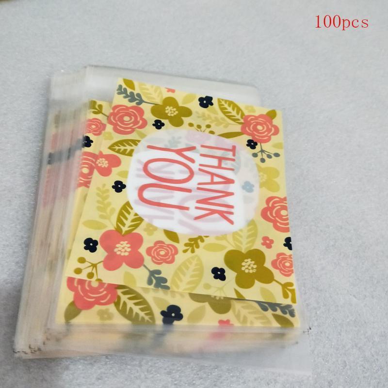 Usted mismo UKGWR Partido Adhesivo Bolsa Rectángulo Regalo de Boda Hornear Gracias Galletas Floral 100pcs Packaging Candy VMLVD