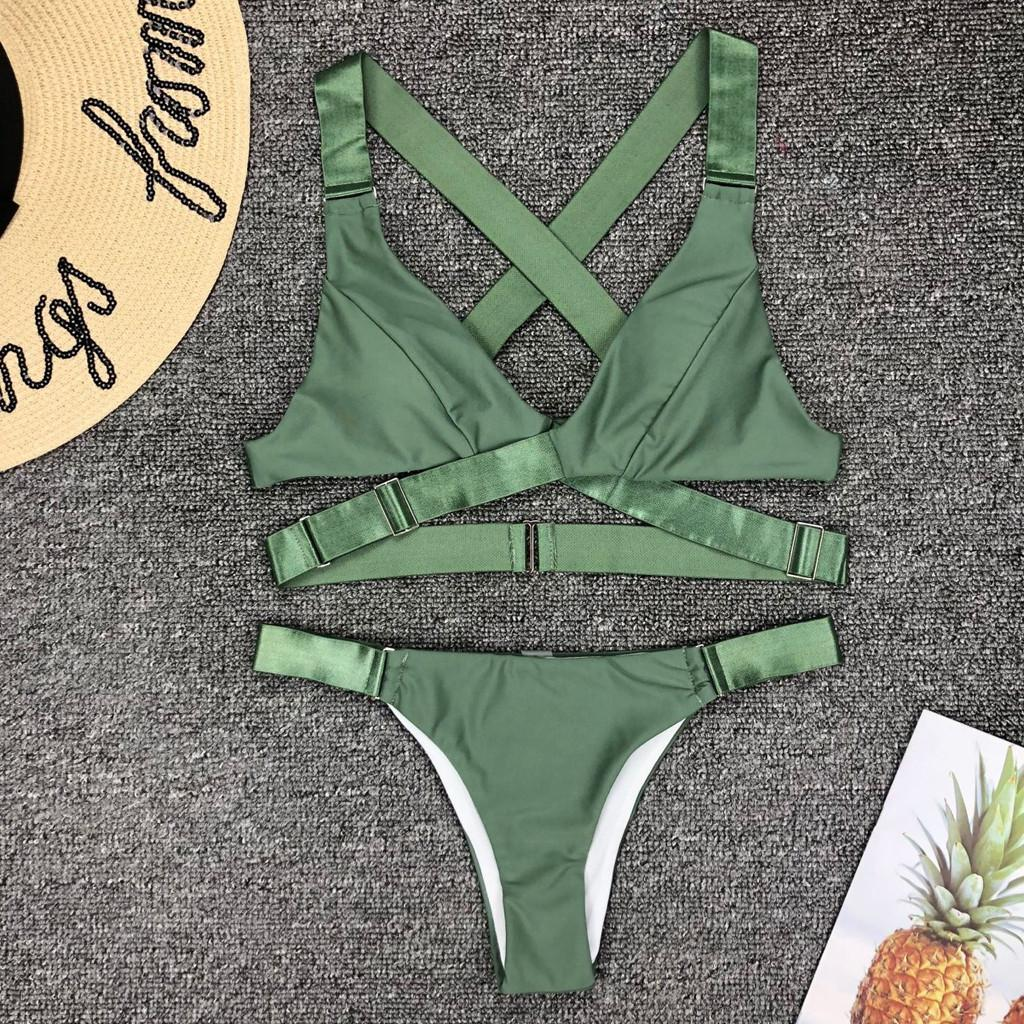 Bikini 2020 Femmes Corps en maillot de bain couleur pure taille basse Bikini maillot de bain femme taille haute bikini sexy ensemble biquini @ 5
