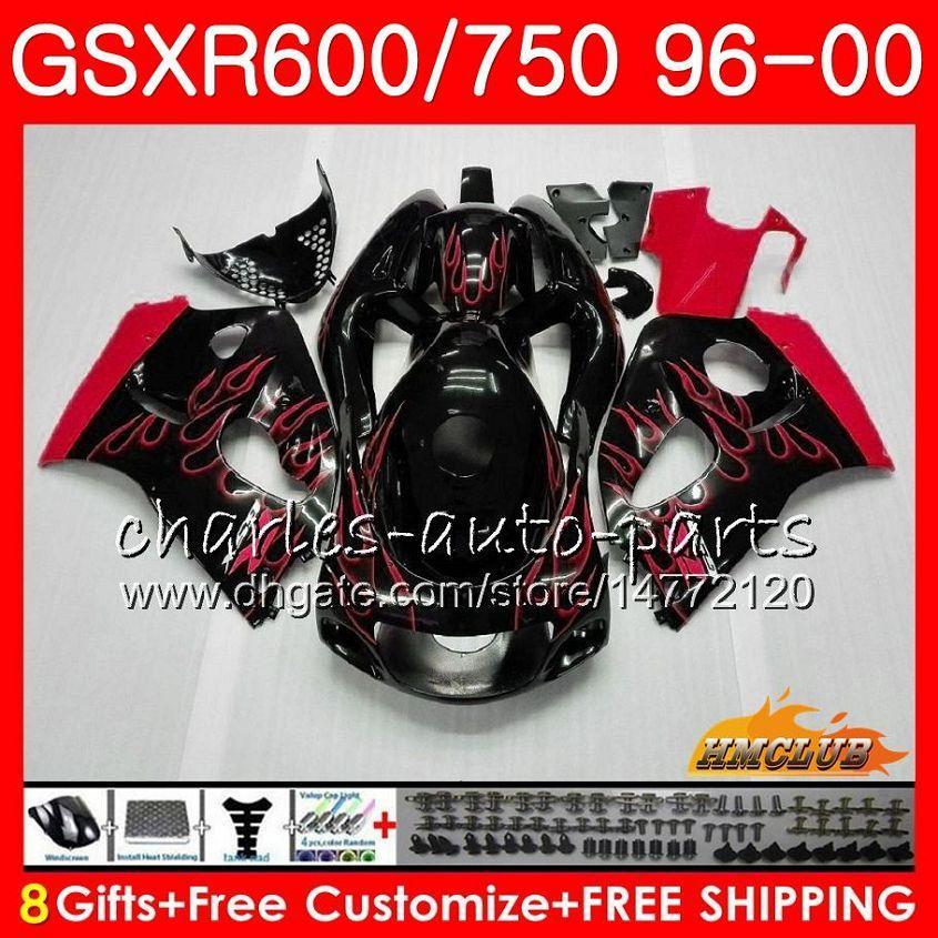 Тело Для SUZUKI красного пламени SRAD GSXR 750 600 GSXR600 GSXR750 96 97 98 99 00 1HC.17 GSXR750 GSXR600 1996 1997 1998 1999 2000 обтекателя комплекта
