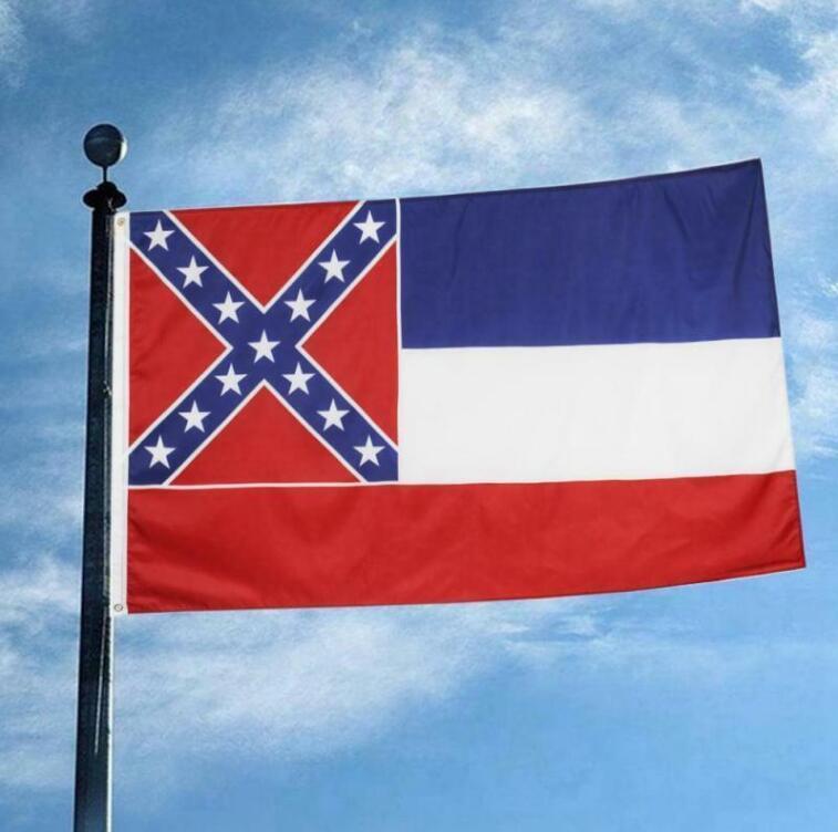 150 * 90CM الأمريكية دولة ولاية ميسيسيبي العلم البوليستر علم الولايات المتحدة الأمريكية 3x5ft البوليستر راية الرياضة في الهواء الطلق الديكور العلم ZZA2442