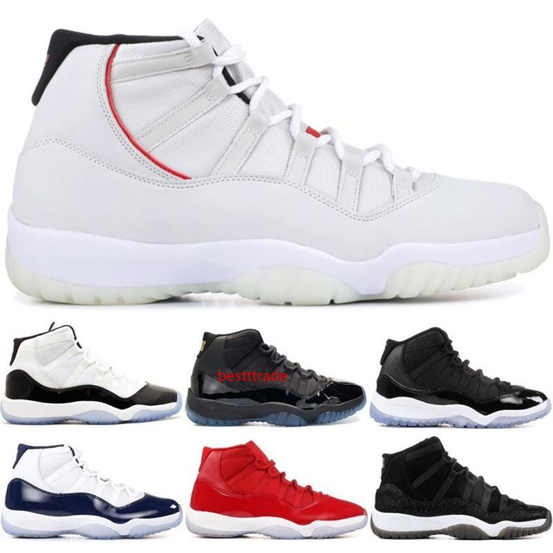11 Tênis de basquete Platinum Tint Cap 45 Concord e vestido PRM Bred Heiress Ginásio Vermelho Espaço Jams 11S Homens Desportos Sneakers 5,5-13