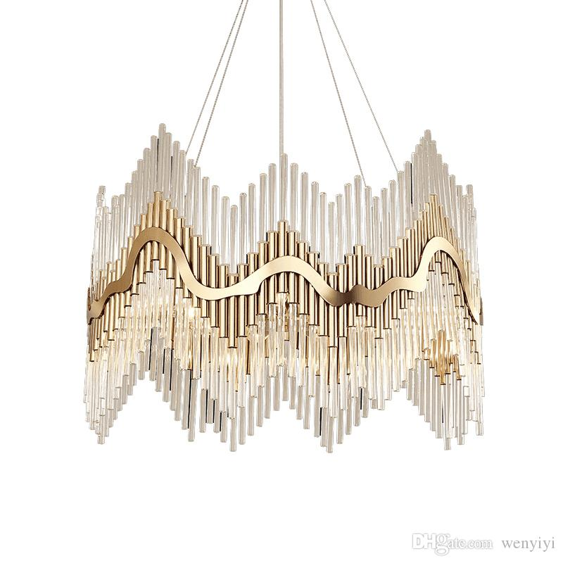 Luxury Modern Crystal Chandelier Gold Hanging Living Dining Room Lighting Fixture Luxury LED Lustres De Cristal 100-240V free UPS