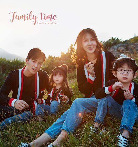 Resorte del otoño de manga larga hija del padre del bebé la ropa del muchacho de la camiseta de la familia Mismo vestido de la familia conjuntos de ropa