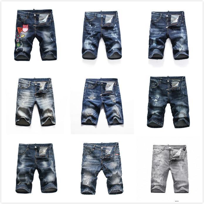 dsquared2 DSQ D2 DSQUARED2 mens tasarımcı kısa kot düz delikler sıkı kot rahat jean Gece kulübü mavi Pamuk yaz Erkekler pantolon Boş tarzı sıcak satış DHJ1