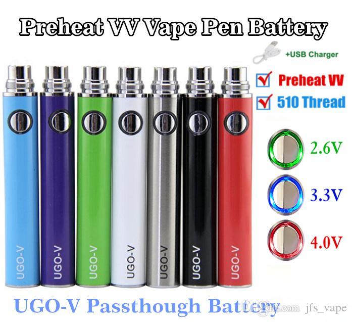 Preheat VV EVOD eGo 510 Thread Battery UGO Micro USB Passthough 650 900 mAh Vape Pen Battery