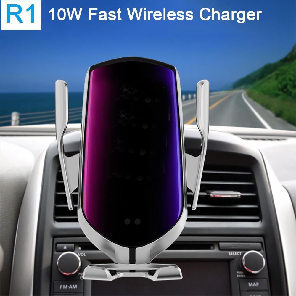 R1 automatique de serrage 10W voiture chargeur sans fil pour iPhone Xs Huawei LG infrarouge induction Qi chargeur sans fil Support de téléphone de voiture