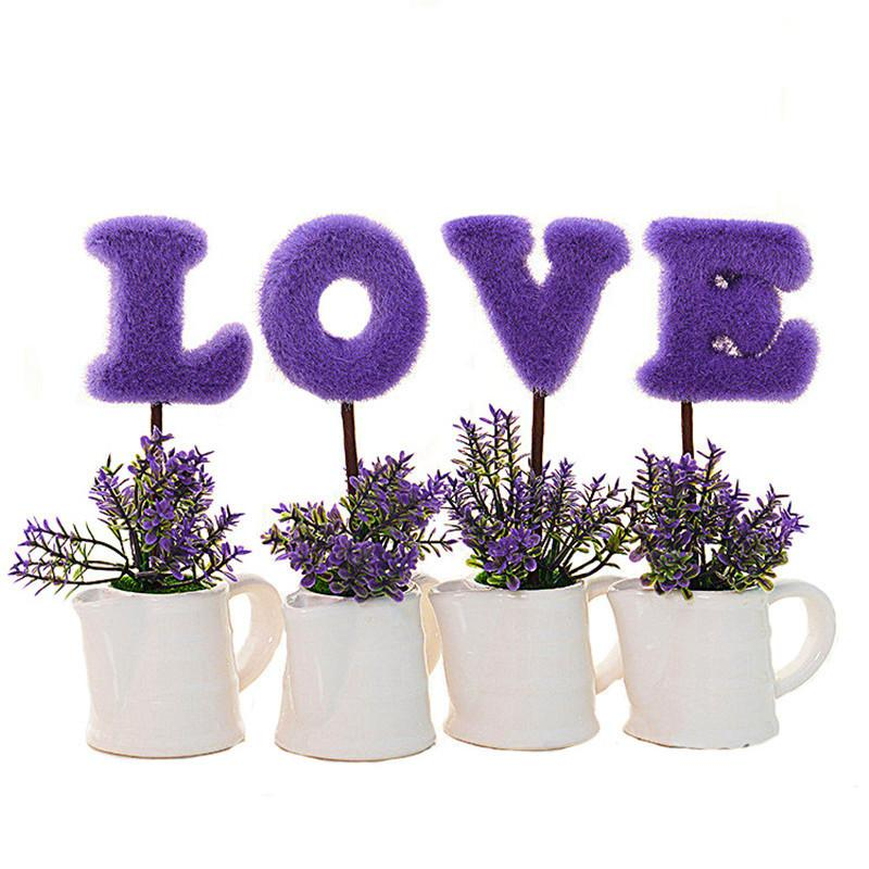 Flone Simulated Love Plant Bonsai Creative Love Letter Flowers Green Plant Potted Plant For Living Room Furniture Decoration Y19061103