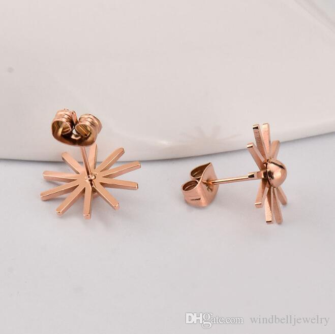 Chegada Nova 316L aço cirúrgico Sun Flower brincos IP Rose Gold alta polido Mulheres Jóias
