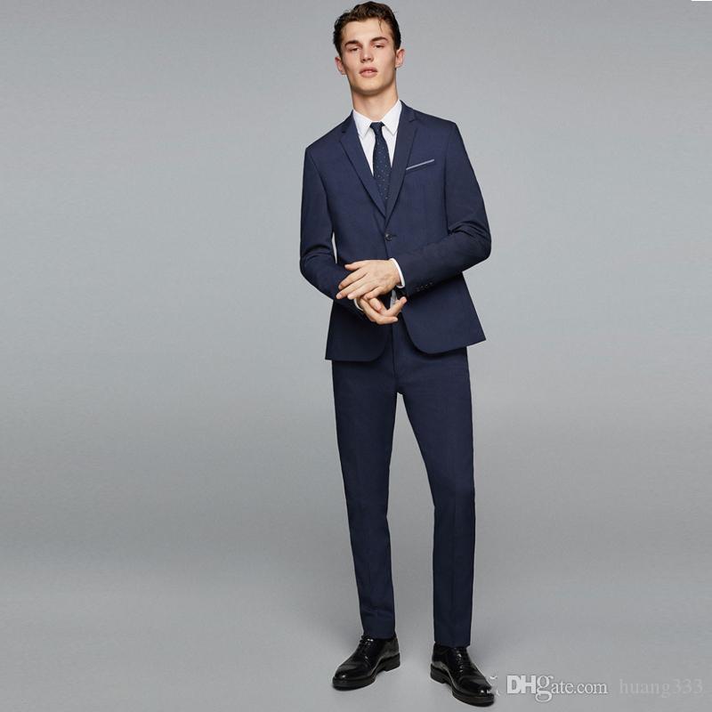 New Navy Slim Fit Trajes de hombre Trajes de novio de boda 2 piezas (chaqueta + pantalón) Trajes de novio El mejor hombre Vestido de fiesta 171