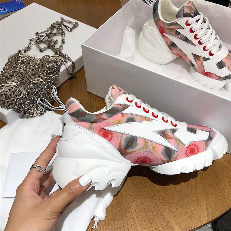 2019 moda lüks tasarımcı kadın ayakkabı Neopren Grogren Şerit D-Connect'in spor ayakkabısı Lady Wrap-around Kauçuk Sole Casual Ayakkabı