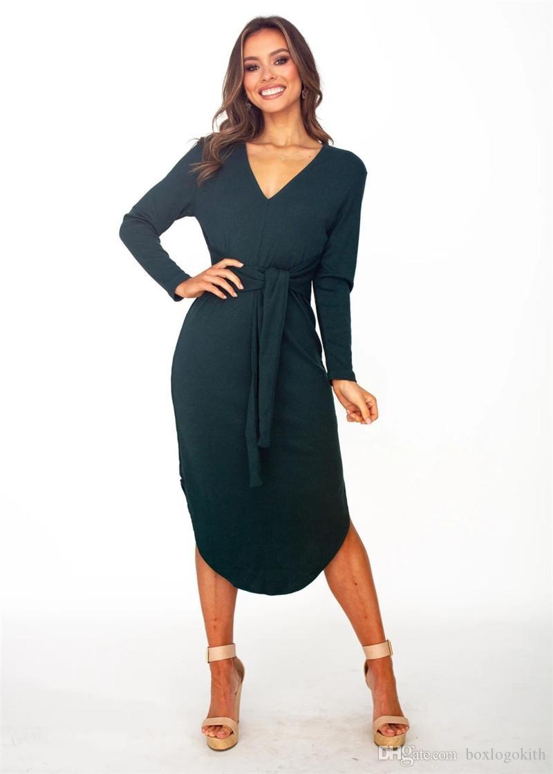 Fashion Luxury Designer Women Dresses Autumn Casual Slim V-Neck Long Sleeved Lace Dresses Womens Autumn Dresses