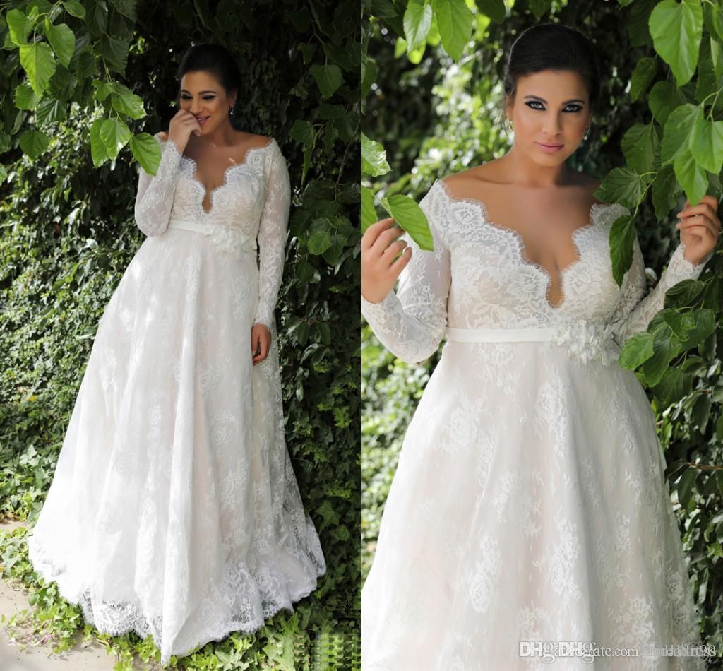 정원 라인 엠파이어 허리 레이스 플러스 크기 웨딩 드레스와 긴 소매 섹시한 전체 레이스 Appliqued 비치 웨딩 드레스 신부 가운