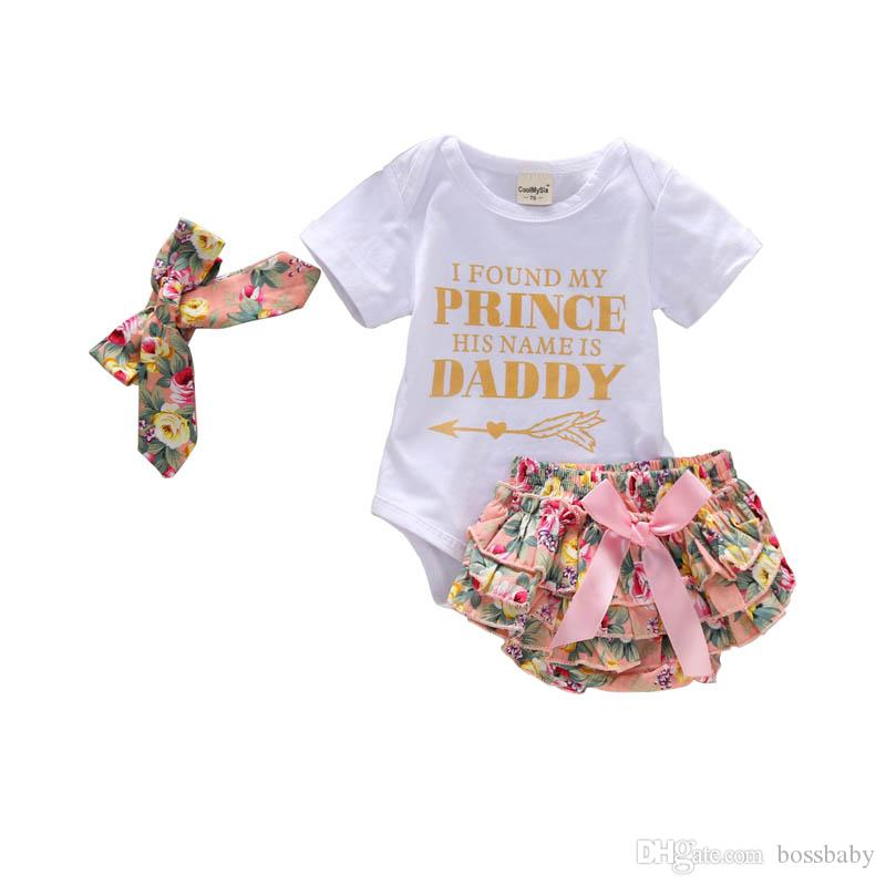 Baby Girl Romper Outfits Letter Crown Printed Tops Bow Pearls Tutu Sequined Shorts With Headband Three-Piece Set Kids Casual Clothes 0-24M