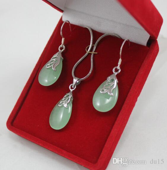 Prett Lovely Женская свадебная женская светло-зеленая подвеска с подвесками серьги комплекты украшений для вечеринки