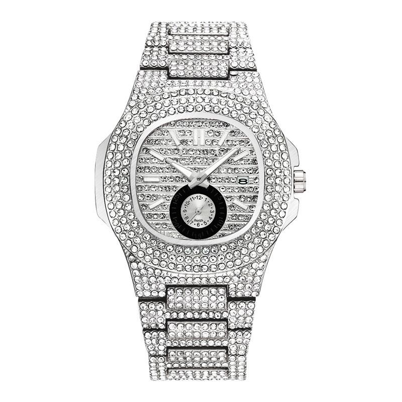 Bling Mens-Luxuxuhr Großhandel Fashion Damenuhren Diamant Iced Edelstahl Kleine Dial Arbeits Quarz-Uhrwerk Designer Uhren Uhr
