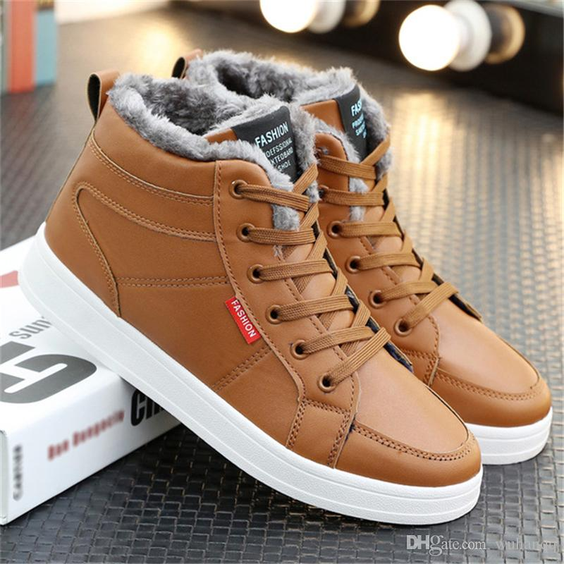 Men Shoes Fashion Warm Fur Winter Men Leather Boots Waterproof Snow Boots Footwear High Top Canvas Casual Shoes