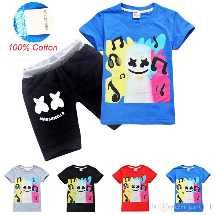 Summer DJ Marshmello Printed Kids Clothing Sets 6-14t Kids Boys 100% Cotton T-shirt + Shorts 2 Piece Set kids designer clothes DHL SS99