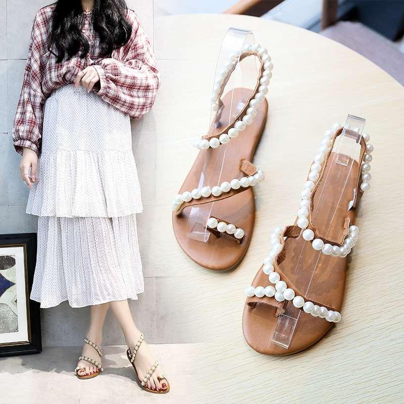 Grande tamanho 2019 verão praia romana sandálias das mulheres selvagem pérola férias sapatos casuais pin toe sapatos baixos mulheres