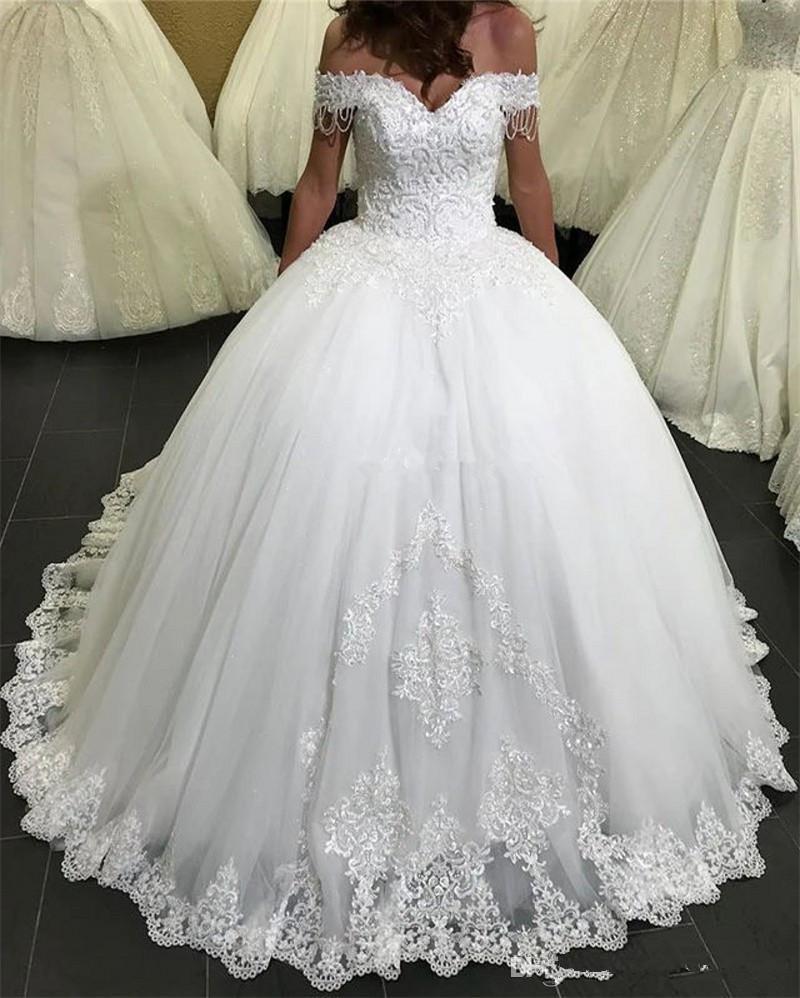 Modest Lace Ball Gown Abiti da sposa 2020 Appliques in rilievo lace-up arabo Abiti da sposa sweep treno Abiti da sposa