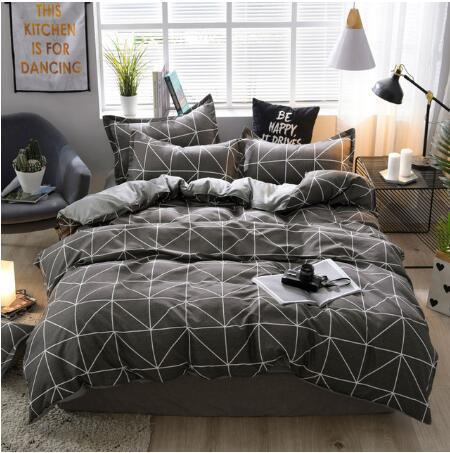 4Pcs/Set Bedding Set Leaves Flower Stripe Bed Set 21Style Aloe Cotton Bed Sheet Semi-Reactive Printing Home Bed Textile Products