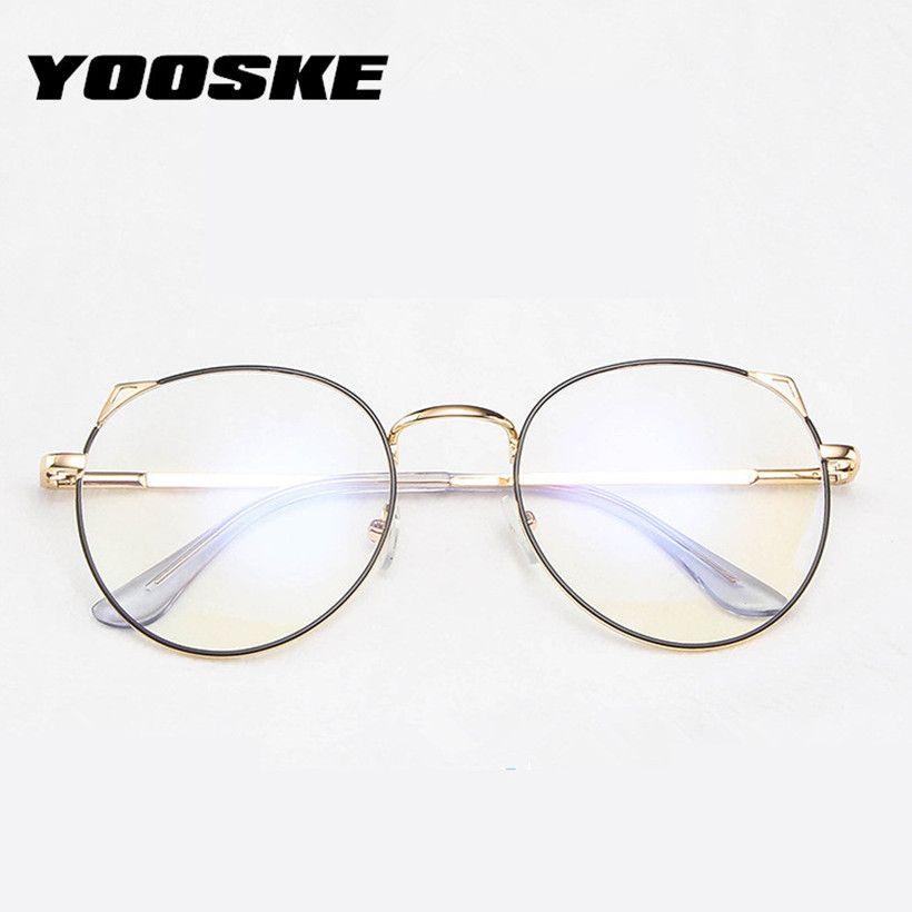 YOOSKE Cat Eye Glasses Women Anti Blue Light Eyeglasses Frames Female Gaming Computer Eyewear Metal Spectacles
