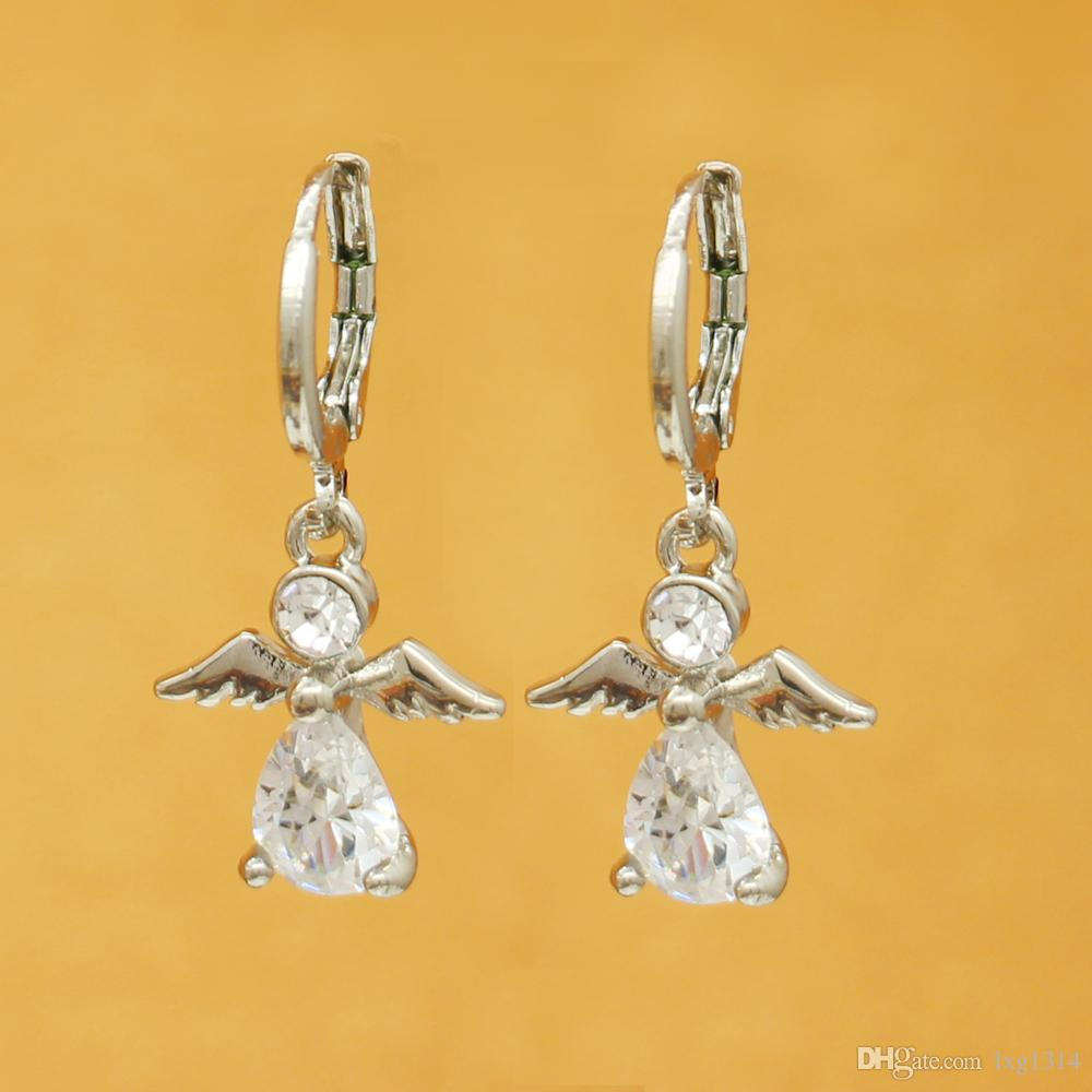 Silver pendant female Korean fashion accessories jewelry angel wings inlaid artificial zircon female earrings gift