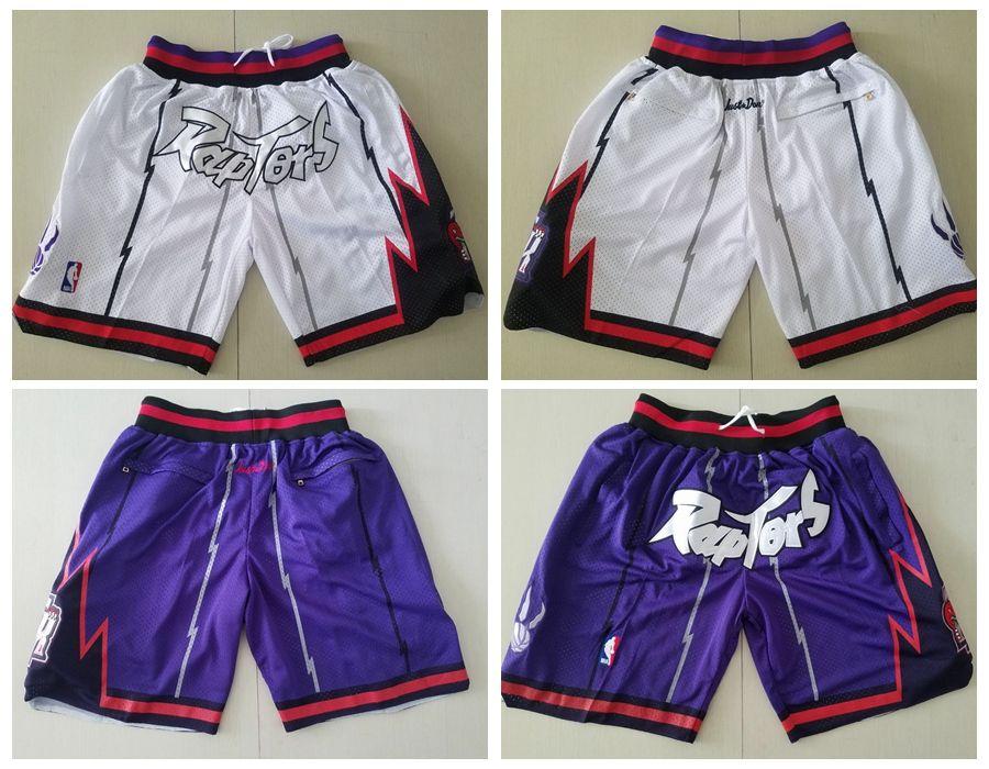 New Men/'s Toronto Raptors just don basketball pants shorts retro mesh WHITE