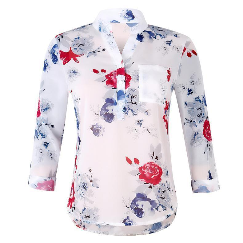 Wholetide Nice New Style V Collar Printed Chiffon Shirt Lady European And American Style Loose Type Long Sleeved Chiffon Shirt