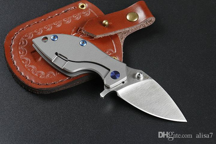Haute qualité Feuille Petit Flipper couteau pliant D2 satin Lame poignée titane roulement à billes EDC Couteaux de poche en cuir gaine