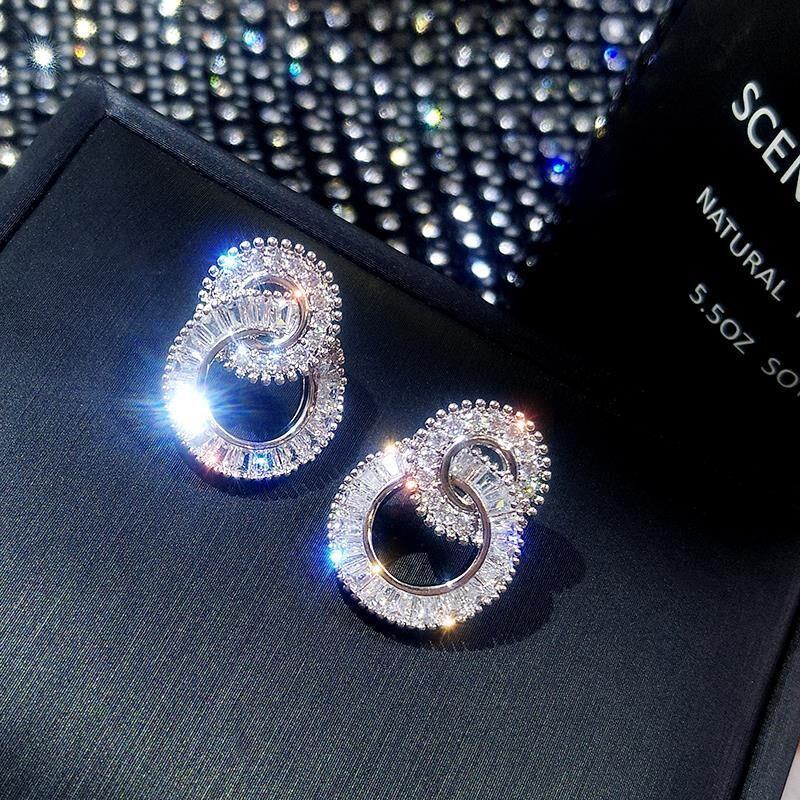 925 Sterling Silber Farbe Runde Niedliche Bling Zirkon Stein Ohrstecker Für Frauen Schmuck Super Flash Mode Kreis Ohrring Korea Stil Siver