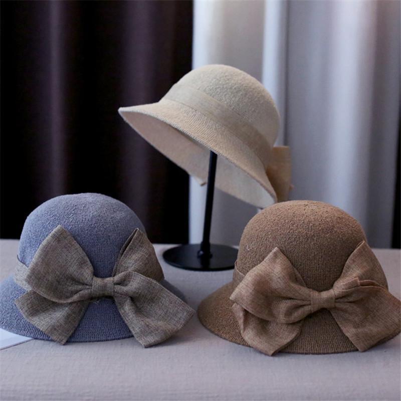 Nouveau arc de couleur solide chapeau de pêcheur élégant simple Visière Mode Femme d'extérieur adulte Plage Chapeau de paille