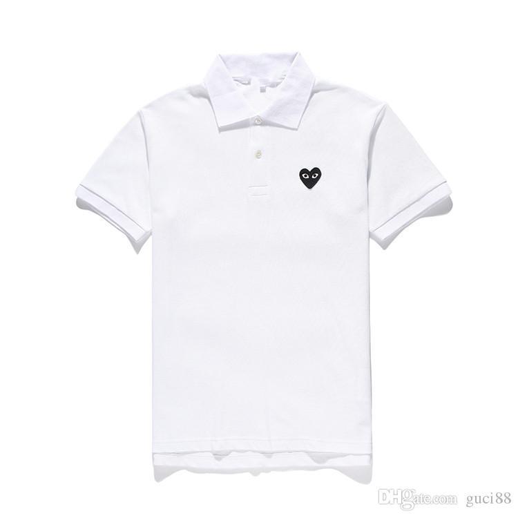 ÜST Quaity com des kapalı garconss çalış tasarımcı polo gömlek erkekler işlemeli siyah kalp ile yaz beyaz Pamuklu gömlek Polo yaz