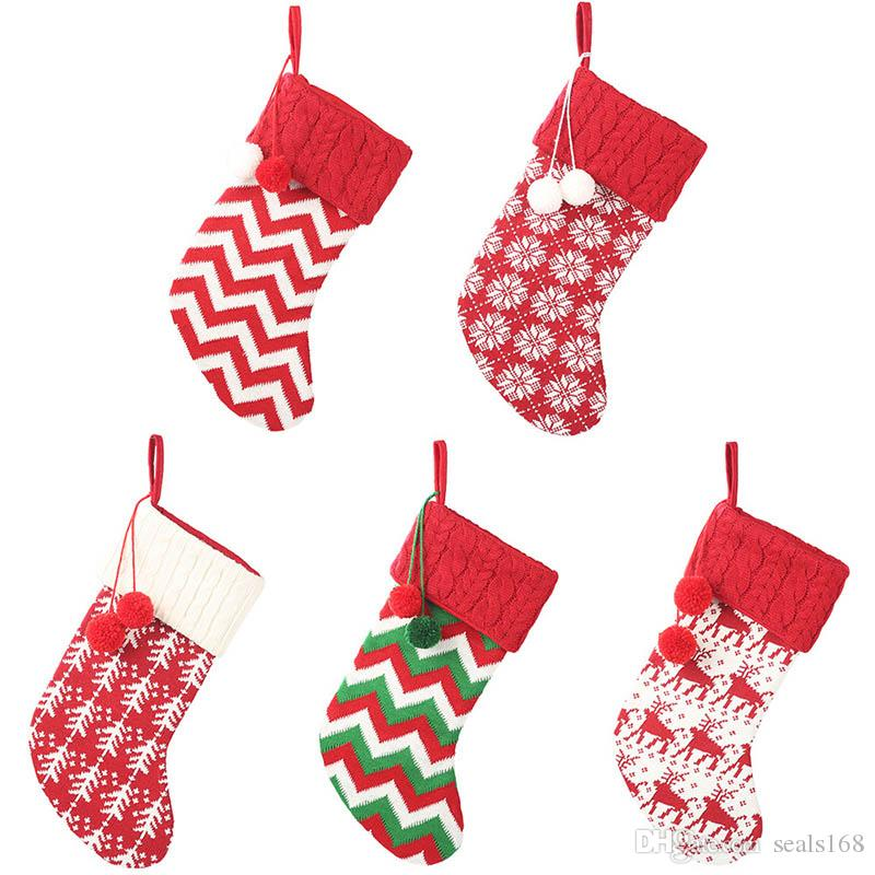 Knit Christmas Stockings Decor Christmas Trees Ornament Party Decorations Reindeer Snowflake Stripe Candy Socks Bags Xmas Gifts Bag HH9-2373