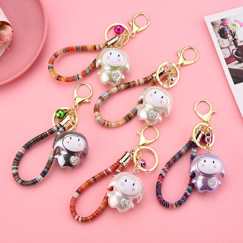 Moda pet bonito chaveiros Shy Cadeia bonito Pet Acrílico Pendant Key criativa Cotton Retro corda de sino Acessórios Bag Chaveiro