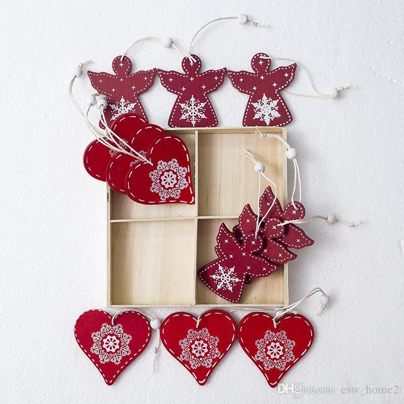 Bianco rosso albero di natale ornamento pendenti in legno appeso angelo campana di neve alce stella decorazioni natalizie per la casa 12pcs / set