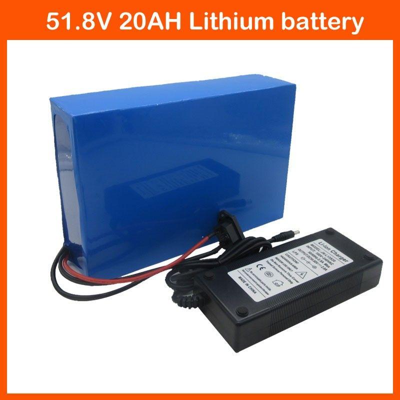 1500 W 52 V 20AH batteria al litio 52 V batteria per bicicletta elettrica 14S 51.8 V E-Bike batteria per moto 52 V 20AH 30A caricatore BMS 2A