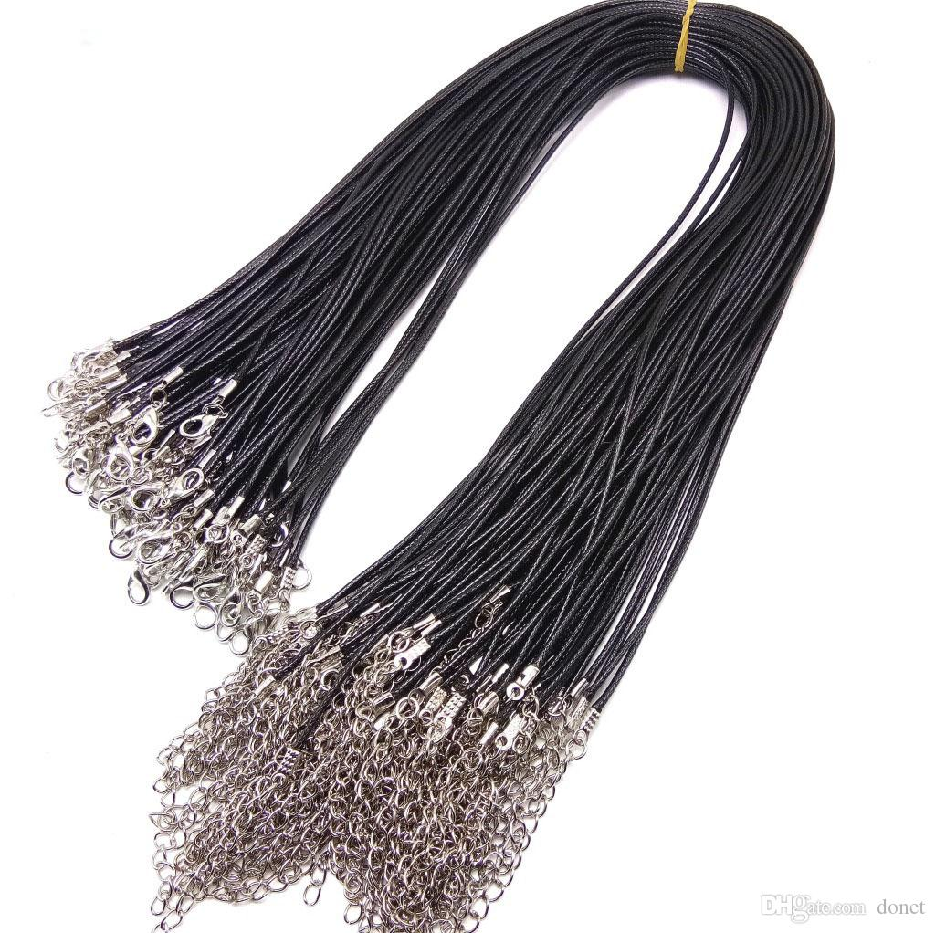 DIY Real Leather Chains Pendant Necklace Rope Charms Findings Lobster Clasp String Cord 1.5mm Black