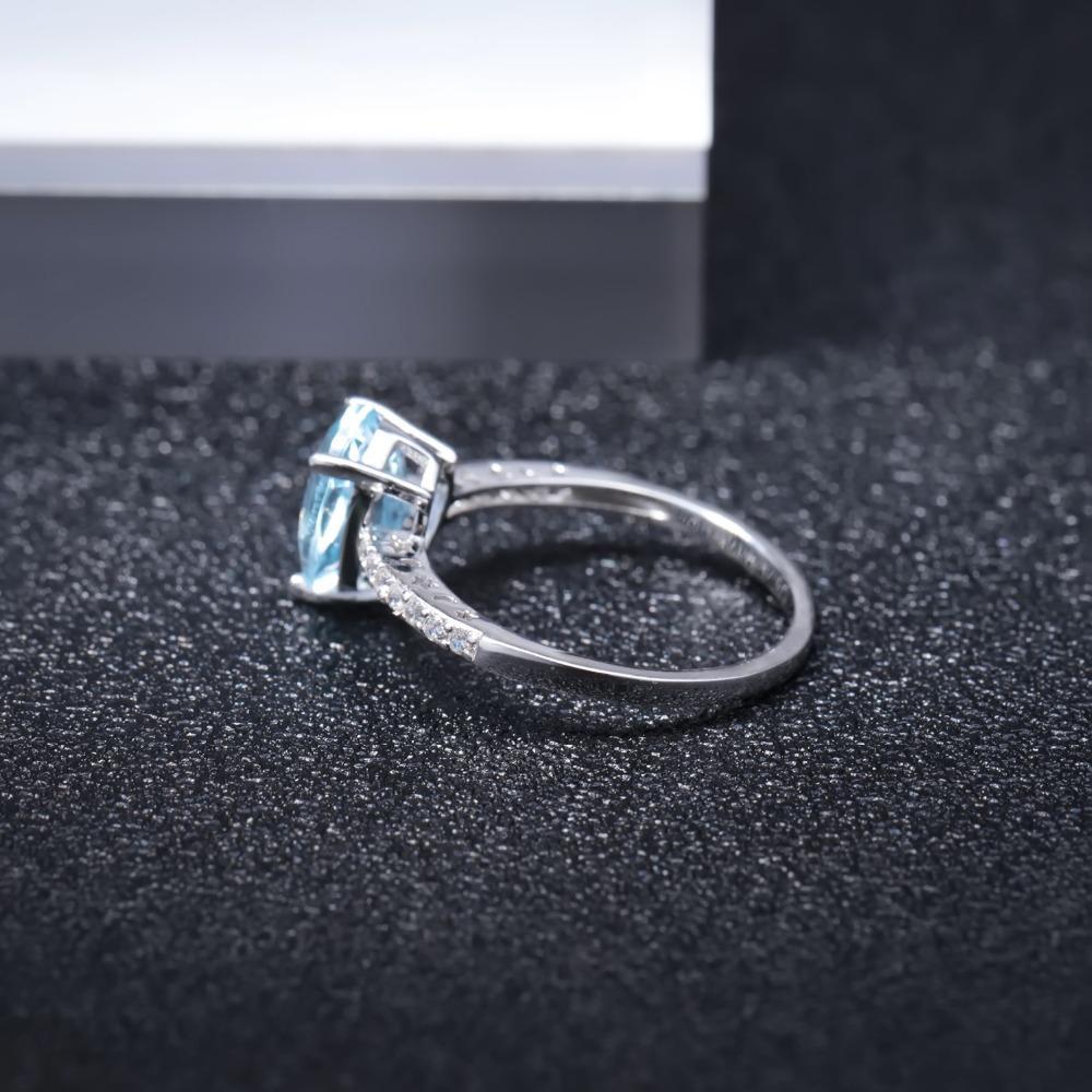 GEM DEL BALLET pera 2.4ct del azul de cielo anillos de topacio Pendientes de plata de ley 925 piedra preciosa natural joyería fina Set regalo de las mujeres para