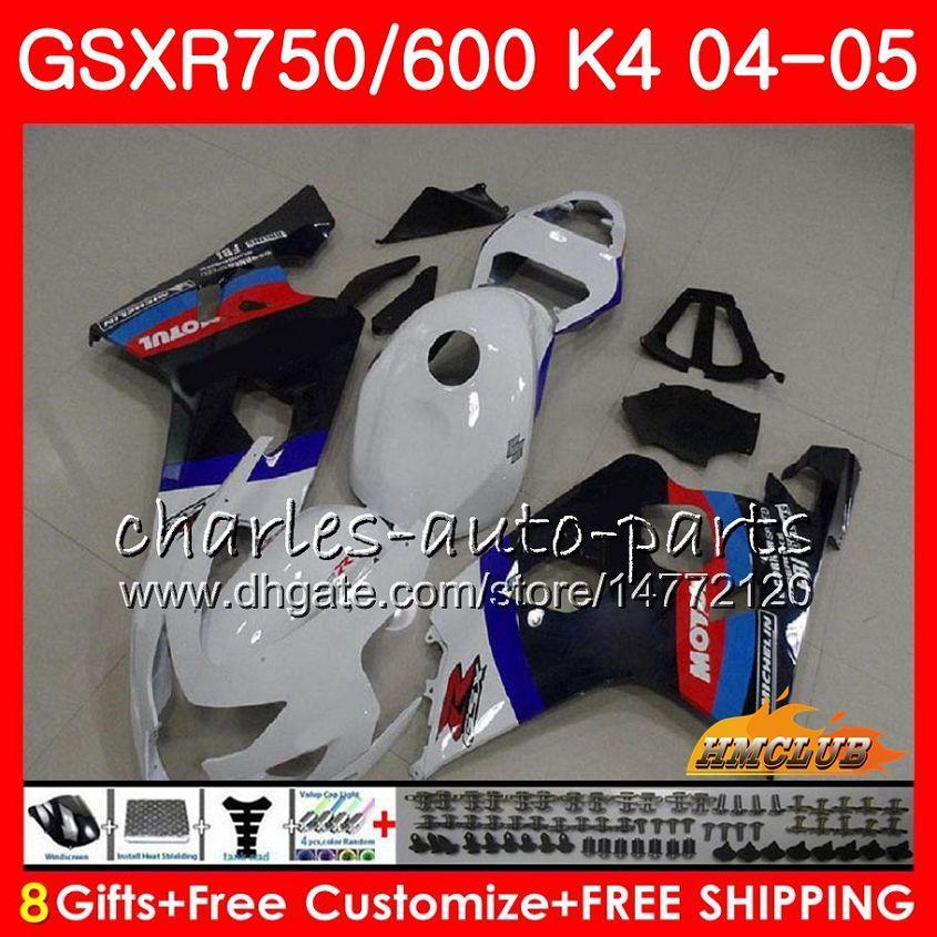 BODY DO SUZUKI GSXR 750 GSX R600 R750 GSXR600 2004 2005 7HC.52 GSXR 600 GSXR-750 04 05 Błyszczący Biały Hot GSX-R600 K4 GSXR750 04 05 Owalnia