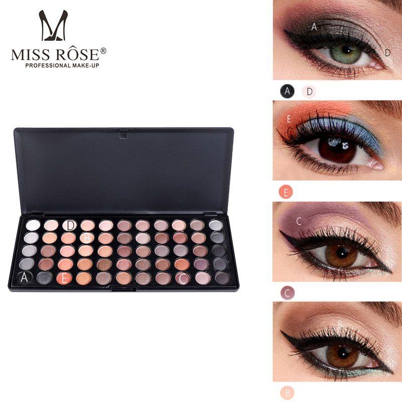 Palette de fards à paupières Miss Rose 55 couleurs Terre couleur fard à paupières Palette 3D mat fard à paupières maquillage pour les yeux