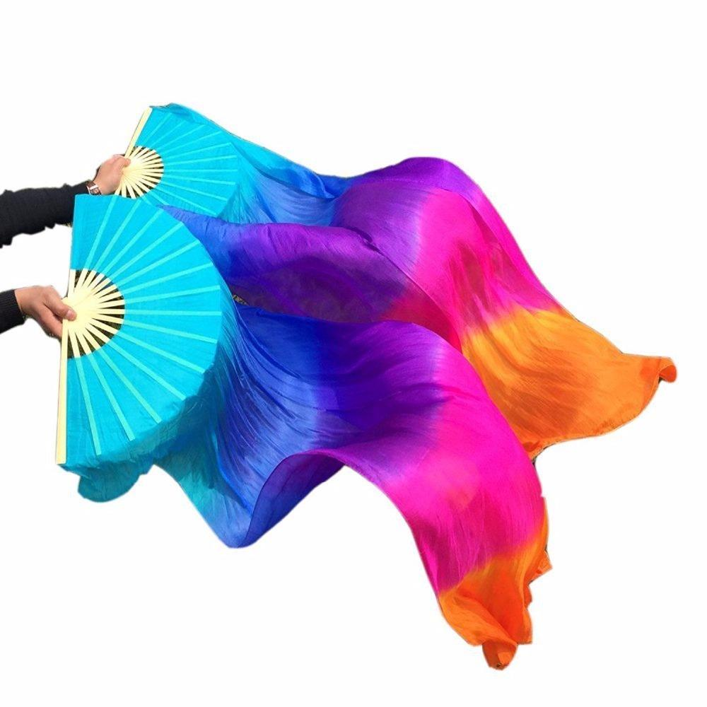 Women 1.8 m Belly Dance 100% Silk Bamboo Fan Veil 1 Pair (left and right hand) Turquoise Blue Purple Rose Orange