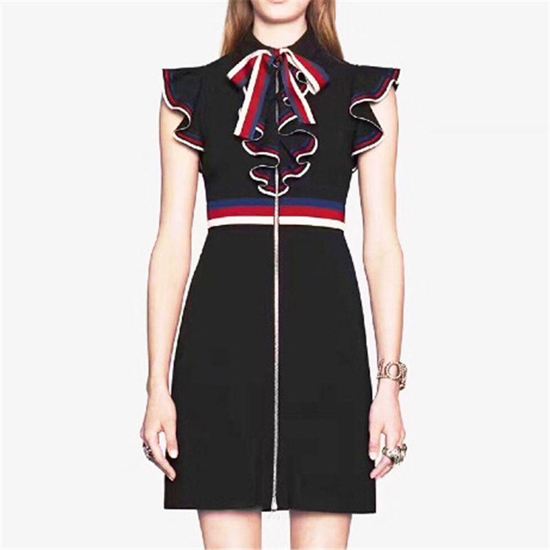 فستان الصيف ضئيلة مع اللباس القوس العلامة التجارية أزياء للسيدات فستان أنيق نمط المرأة مع كشكش