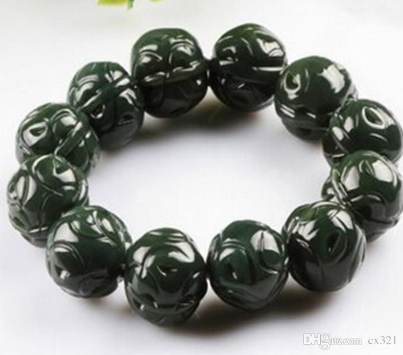Men and women models round bead jade bracelets Natural Hetian jade Xinjiang sapphire carving walnut bracelets