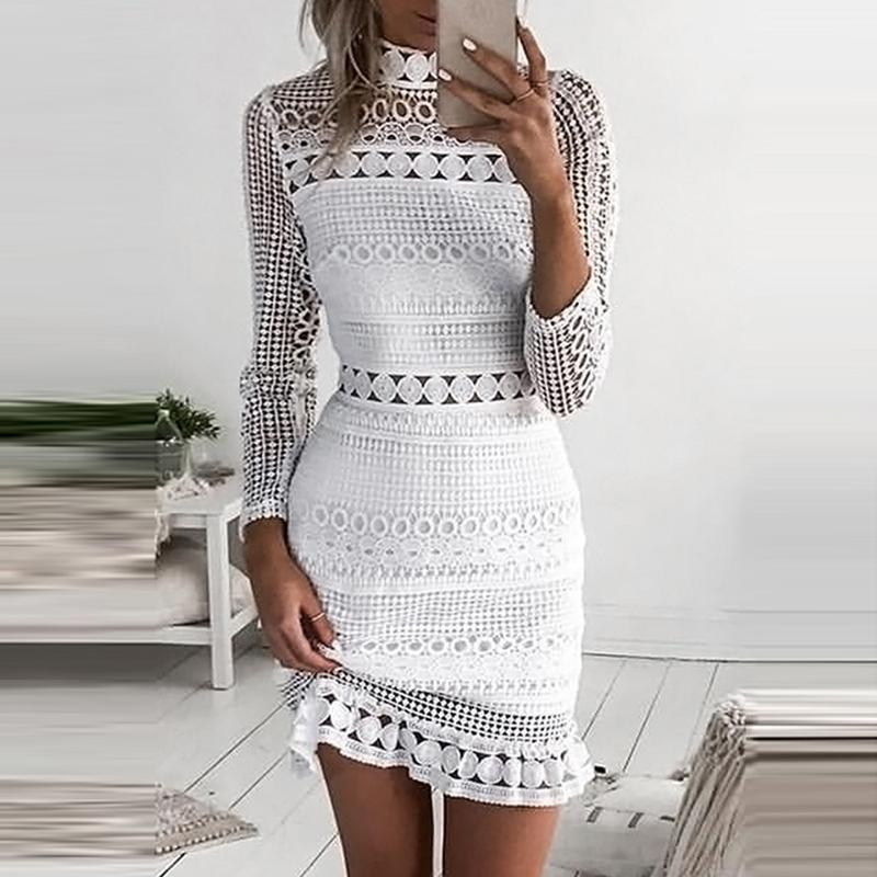 White Lace Dress Women Party Dresses female vestidos Elegant Ladies Bodycon Dress Solid Long Sleeve Tiered Wrap