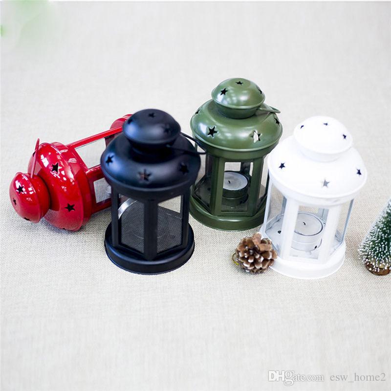 Weihnachten Europäischen Schmiedeeisen Winddicht Lampe Weiß Grün Schwarz Rot Kerzenhalter Desktop Dekorativen Kerzenständer Weihnachtsschmuck