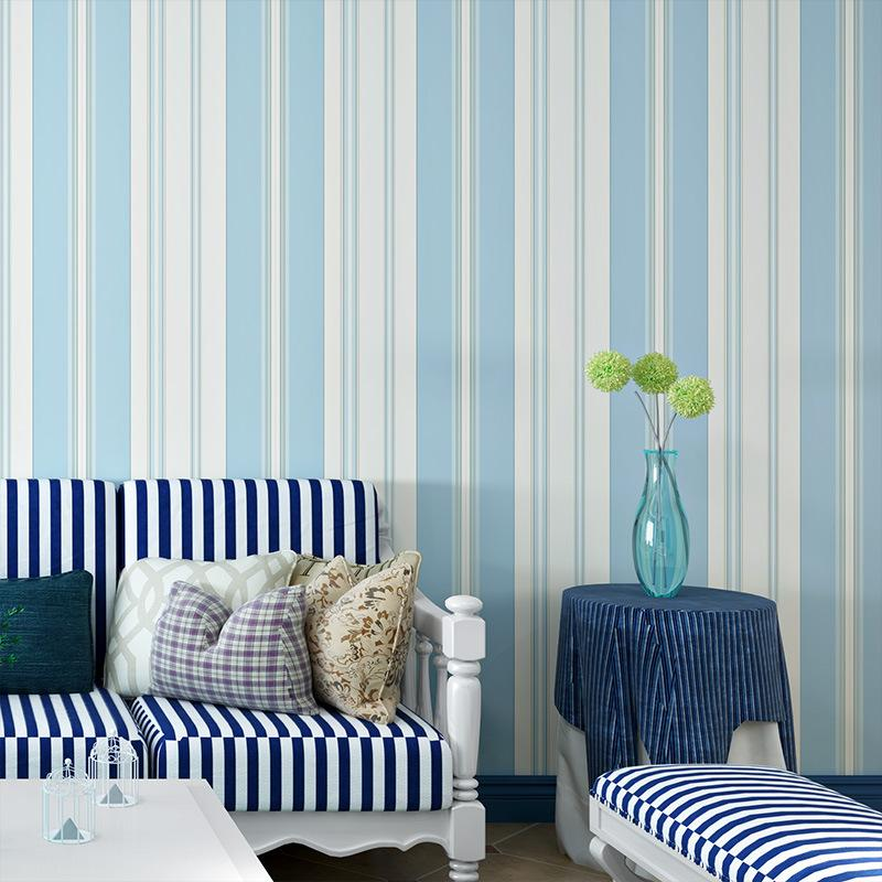 Thickened Vertical Striped Wallpaper Bedroom Dining Room Background Wall Paper Mediterranean Striped Non Woven Wallpape Wallpaper Desktop Widescreen