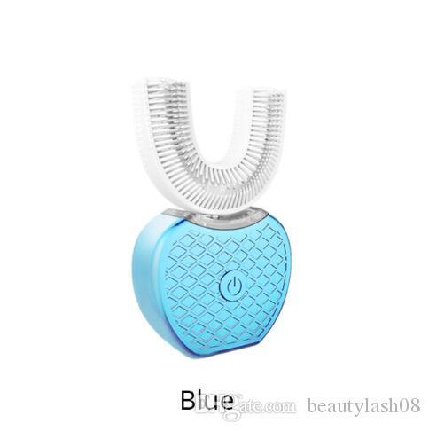 360도 무선 USB 충전 게으른 자동 소닉 실리콘 전동 칫솔 치아 브러쉬 구강 관리 도구를 청소 화이트닝