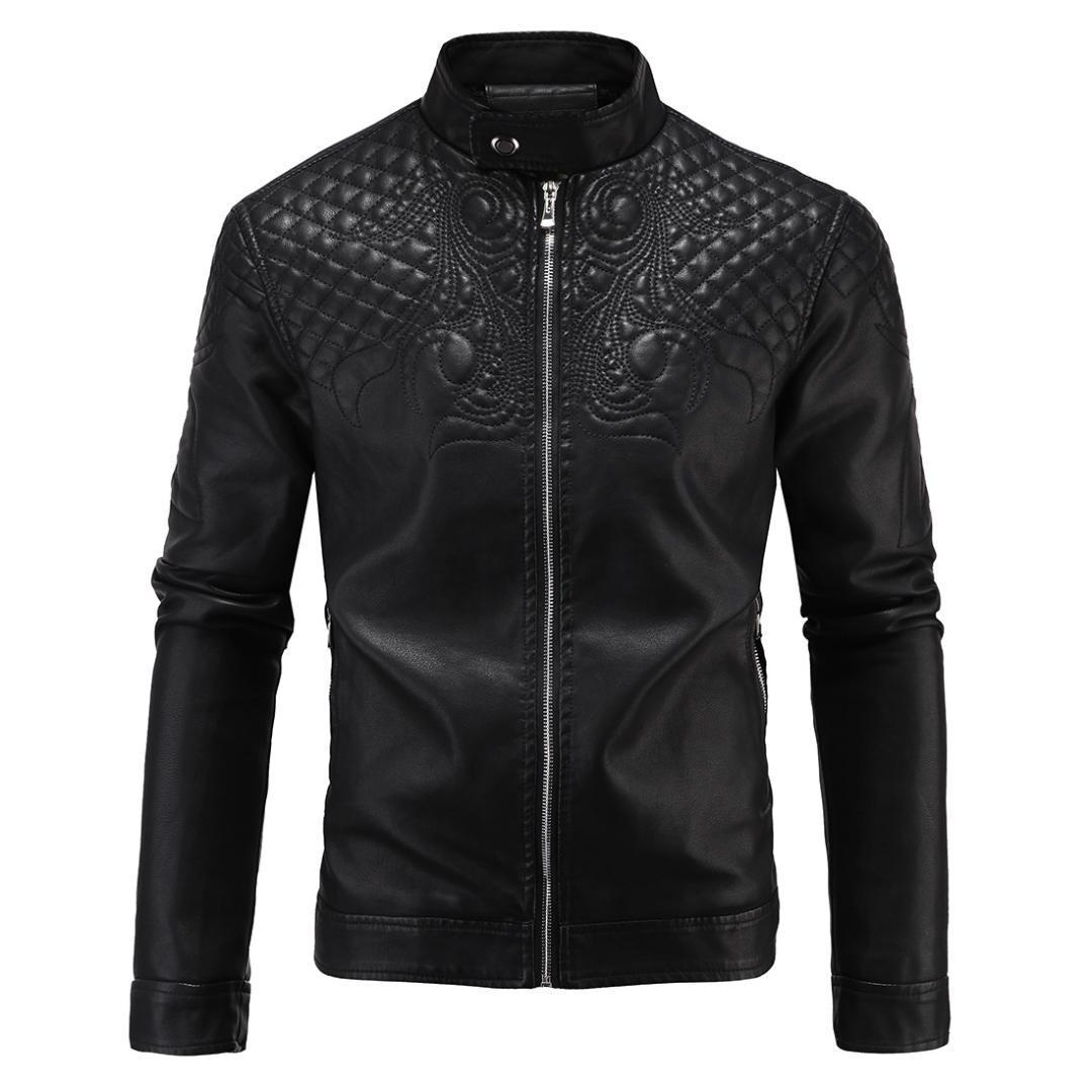 2018 Otoño Invierno Moda Hombres Chaqueta de cuero Inglaterra Especial Diseño de apliques Engrosamiento Fleece Forrado Negro PU Chaquetas para hombres