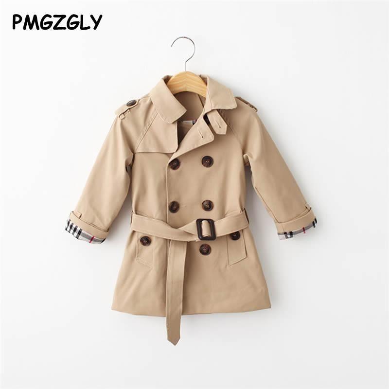 2018 printemps Trench-Coat pour filles vêtements enfants vêtements coton veste à double boutonnage enfants vêtements coupe-vent filles manteau Ki2018 printemps